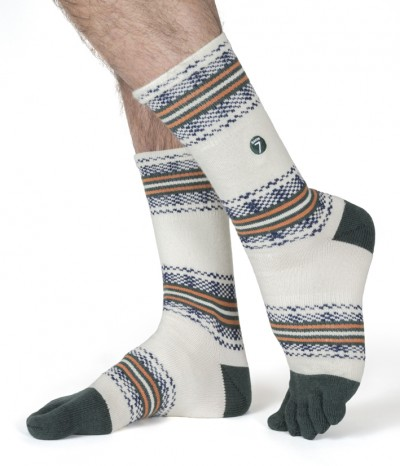 chaussettes 5 doigt pied laine merinos sapin