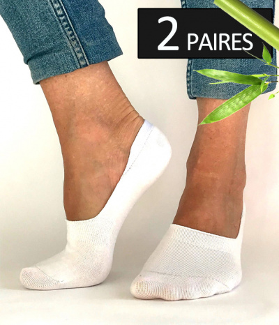 chaussettes courte invisible footi blanc bambou